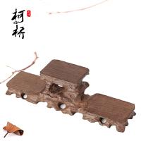 鸡翅木高低奇石玉石古玩紫砂茶壶具实木托架红木雕工艺品摆件底座