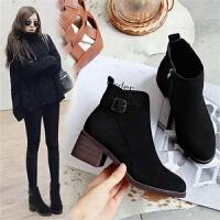 中跟靴子女秋冬季新款时尚韩版粗跟磨砂皮短靴百搭加绒女靴子棉鞋