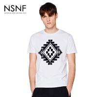 NSNF抽象图形植绒白色圆领纯棉短袖T恤男款 男装2017短袖新款 修身圆领针织短袖