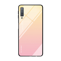 三星a7 2018版手机壳20一八版手机套a七玻璃3星保护套SAMSUNG保护 黄渐粉-三星A7 2018