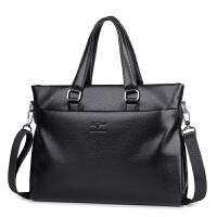 软皮韩版男士手提包横款商务牛皮男包包公文包大容量公务皮包 黑色(买一送三)