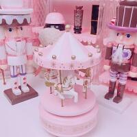 粉色少女心旋转木马音乐盒装饰桌面摆件八音盒生日礼物 旋转木马音乐盒
