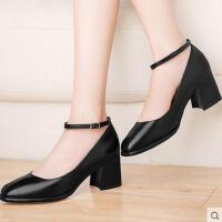 高跟鞋粗跟春天新款古奇天伦春季一字扣浅口工作鞋黑色女单鞋8559