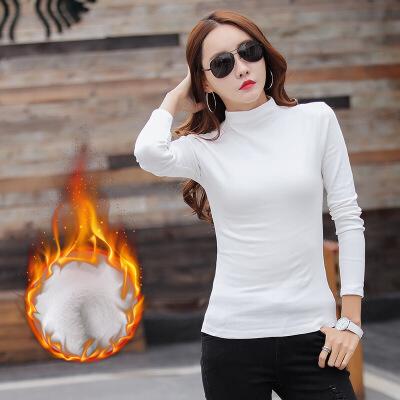 中高领打底衫女秋冬半高领加厚加绒保暖内搭长袖t恤修身百搭上衣