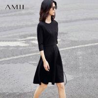 【1件7折/2件5折 再用券】Amii[极简主义]2017秋装新品时尚设计款修身显瘦连衣裙女11760248