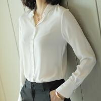 重磅真丝衬衫女长袖2018春装新款欧美时尚白色桑蚕丝上衣宽松大码YS01