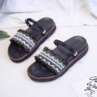 一鞋两穿 网红沙滩凉鞋女夏天新款仙女风超火小熊底学生百搭ins潮夏季百搭鞋