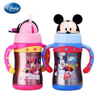 迪士尼儿童保温杯 不锈钢有手柄吸管水壶 小学生便携可爱水杯