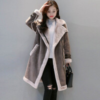白领公社外套 女士大毛翻领拉链款宽松毛呢衣冬季新款韩版时尚女式保暖加厚休闲修身中长款大衣