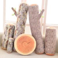 仿真木头树桩抱枕毛绒玩具 创意砧板大树抱枕坐垫靠枕生日礼物女
