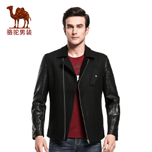 骆驼&熊猫联名系列男装外套 时尚青年翻领拼料夹克衫休闲厚外套男