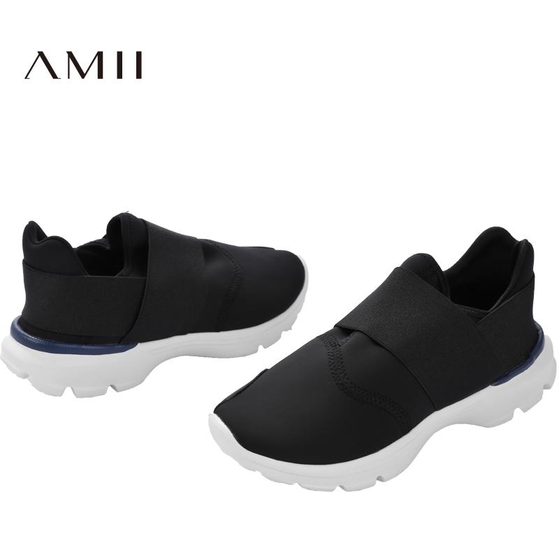 【品牌团 1件7折/2件5折】AMII[极简主义]2017年春季百搭一脚蹬懒人鞋透气运动休闲低帮鞋女