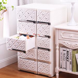 御目  儿童收纳 多层塑料收纳箱抽屉式衣物收纳柜家用小号储物箱儿童玩具整理箱子柜子 创意家具