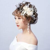 头饰耳环套装婚纱礼服配饰森系羽毛发夹饰品女仙