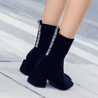 2019冬季新款高跟粗跟韩版女鞋短靴百搭女靴子英伦绒面学生马丁靴 黑色