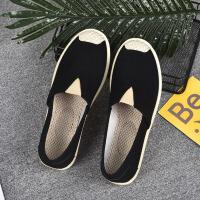 白领公社 帆布鞋 女帆布鞋女士休闲鞋春内增高女鞋潮布鞋学生韩版厚底一脚蹬懒人鞋子