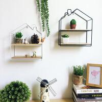 创意北欧几何铁艺木板格子免打孔墙壁置物架客厅卧室宿舍装饰壁挂
