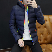2017新款青年男士棉袄子学生棉服连帽中长款棉衣加厚冬季外套男142