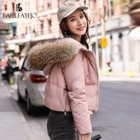 短款羽绒服女冬装2018新款韩版小个子大毛领轻薄欧货冬款外套时尚