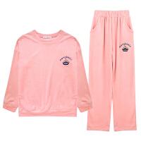 新款冬季时尚甜美丝绒家居服套装休闲圆领保暖少女士睡衣睡裤