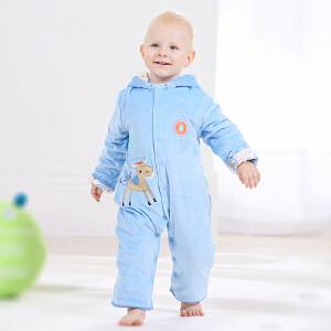 【加拿大童装】Gagou Tagou婴儿服冬季天鹅绒夹棉可拆帽连体衣爬服