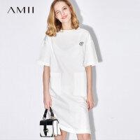 【AMII 超级品牌日】Amii[极简主义]2017夏装新款宽松落肩绣花开衩拉链连衣裙11732831
