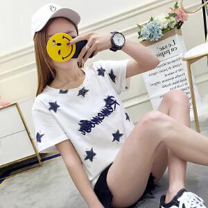 夏季新款短袖星星刺绣简约宽松时尚印花T恤学生女