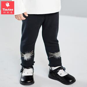 【1件3折价:47.7】纤丝鸟(TINSINO)童装女童加绒裤子儿童保暖打底裤宝宝加厚衣服
