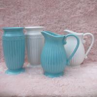 陶瓷花瓶白色蓝色客厅桌摆摆件插花浮雕奶壶SN2926