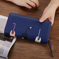 女生钱包长款中长款女式钱包 韩版卡通可爱3只猫咪拉链小零钱包