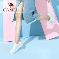 Camel/骆驼女鞋 2018春季新品时尚活力亮色拼接个性系带小白鞋女