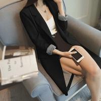 小西装女中长款小西服韩版修身显瘦春秋外套长袖职业大码女装