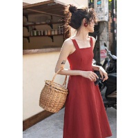 红色吊带裙女复古高腰连衣裙夏小清新长裙裙子