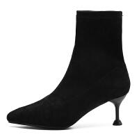 高跟短靴女细跟2018春秋新款韩版百搭细跟弹力袜靴裸靴小跟靴子