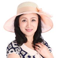 中老年女士妈妈帽遮阳帽欧根纱草帽大沿可折叠防晒沙滩帽