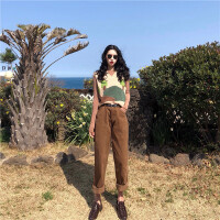 夏装2019新款套装时尚复古针织马甲背心+修身打底衫+灯芯绒阔腿裤