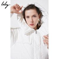 Lily秋冬新款女装纯色中长款白鸭绒直身连帽羽绒服118430D1A02