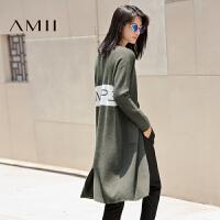 【AMII 超级品牌日】AMII[极简主义]2017年春百搭长袖撞色字母针织中长款开衫女毛衣外套