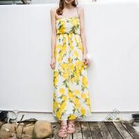 波西米亚连衣裙长裙碎花柠檬黄抹胸裙蝴蝶结露背度假沙滩裙女 图片色