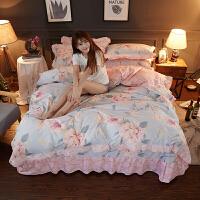 韩版四件套公主风花边被套床单1.5m1.8米床套双人床上用品