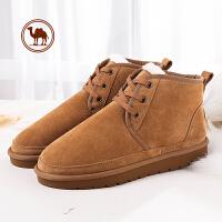 骆驼牌男鞋 加绒加厚保暖鞋子 短筒防滑雪地靴男士棉鞋