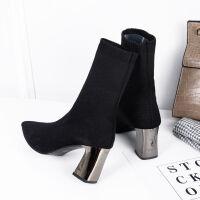 秋季短靴鞋子女2019新款女靴及踝百搭尖头瘦瘦针织弹力袜子靴女鞋 黑色(8cm) 35