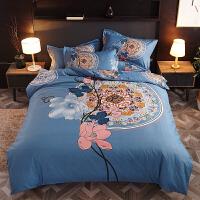 加厚全棉磨毛大板花四件套床上用品双人被套床单简约婚庆四件套