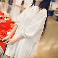 春秋孕妇装上衣2018夏装潮妈宽松白色衬衣中长款长袖孕妇衬衫裙 白色-版