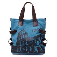 欧美潮流复古女包休闲女士单肩大包印花帆布包大容量旅行包手提包