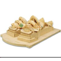 四联玩具木质拼图 世界历史有名建筑3D模型 儿童玩具DIY悉尼歌剧院 成人儿童亲子益智玩具