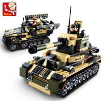 儿童积木拼装玩具益智小鲁班战狼坦克模型飞机男孩生日礼物