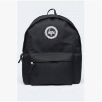 双肩包纯色简约学院范黑色男女双肩背包中大学生书包旅行包 荧光黑 有隔层黑包