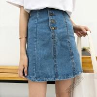 酷酷的女装裙子半身裙牛仔裙短款韩版高腰帅气夏a字百搭高腰