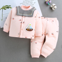 婴儿保暖夹棉秋冬加厚套装宝宝纯棉新生儿衣服0女童1男童装